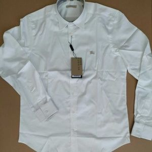 MEN`S CASUAL COTTON WHITE SHIRT NWT LONG SLEEVE